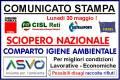SCIOPERO NAZIONALE LUNEDI' 30 NEL COMPARTO IGIENE AMBIENTALE